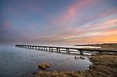 Dawn at the Jade Bay, Wattenmeer National Park, German North Sea, Dangast, Varel, Landkreis Friesland, Lower Saxony, Germany