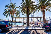 Luxury yachts and cars at the port of Mallorca. Puerto de Palma, Port of Palma, Palma, Mallorca, Spain, Europe