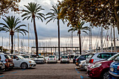 Luxury yachts and parking at the port of Mallorca. Puerto de Palma, Port of Palma, Palma, Mallorca, Spain, Europe
