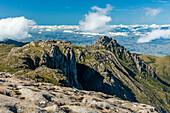 Majestic view from summit of Couto Mountain (Morro do Couto), Itatiaia National Park, Rio de Janeiro state, Brazil