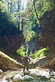 Photograph of adventurous man canyoneering in Deneau Creek, Hope, British Columbia, Canada