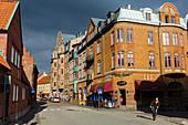 Motifs on Wallander's tracks, St. Västergatan street at Stortorget, Ystad, Skane, Southern Sweden, Sweden