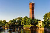Vaesterport (Westor) access to the city via wooden bridge. Background a water tower., Schweden