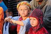 Medieval festival, children in costumes at knights' games, jousting tournament, Schweden
