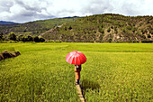 Asian woman holding red umbrella in field