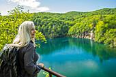 Older Caucasian woman admiring scenic view