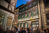 People in the alleys of Bamberg in front of the famous brewery Zum Schlenkerla, Franconia Region, Bavaria, Germany, UNESCO World Heritage