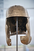 UNESCO World Heritage roman border defense, Limes, helmet of roman soldier in Limes Museum in Aalen, Ostalb province, Baden-Wuerttemberg, Germany