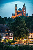 UNESCO World Heritage Speyer Cathedral, View across the river Rhine towards Speyer at dusk, Rhineland-Palatinate, Germany