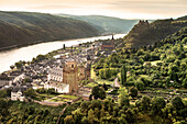 UNESCO World Heritage Upper Rhine Valley, view at Bacharach and Stahleck castle, Rhineland-Palatinate, Germany