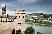 UNESCO World Heritage Upper Rhine Valley, Stolzenfels castle, view to Lahnstein, Rhineland-Palatinate, Germany