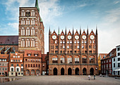UNESCO World Heritage Hanseatic city of Stralsund, town hall and Nikolai church on the market square, Mecklenburg-West Pomerania, Germany, Baltic Sea