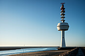 UNESCO World Heritage the Wadden Sea, radar tower at Neuwerk Island, federal state Hamburg, Germany, North Sea