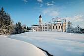 UNESCO World Heritage Wies Church, pilgrimage church surrounded by snow, Steingaden, Bavaria, Germany