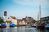 UNESCO World Heritage Hanseatic city Wismar, view from port towards the old town, Wismar, Mecklenburg-West Pomerania, Germany
