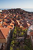 Dubrovnik Old Town with roof terrace of Konoba Lady Pi Pi restaurant seen from city wall, Dubrovnik, Dubrovnik-Neretva, Croatia