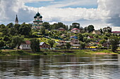 Town and churches seen from aboard river cruise ship Excellence Katharina of Reisebüro Mittelthurgau (formerly MS General Lavrinenkov), Tutayev, near Yaroslavl, Russia
