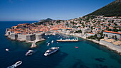 Aerial of Dubrovnik Old Town and harbor with cruise ship MS Romantic Star (Reisebüro Mittelthurgau), Dubrovnik, Dubrovnik-Neretva, Croatia