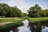UNESCO World Heritage Muskau Gardens Prince Pueckler Park, Neisse River at border to Poland, Lausitz, Saxony, Germany