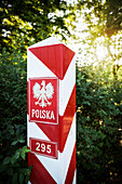 UNESCO World Heritage Muskau Gardens Prince Pueckler Park, polish border pole, Lausitz, Saxony, Germany