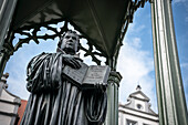 UNESCO World Heritage Martin Luther towns, Luther statue at market square at Wittenberg, Saxony-Anhalt, Germany