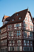 Half-timbered Löwenapotheke building in Altstadt old town, Aschaffenburg, Spessart-Mainland, Bavaria, Germany
