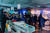 People in the Absolute Ice Bar, Stockholm, Sweden