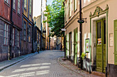 Alley in the old town Gamla Stan, Stockholm, Sweden