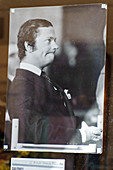 Old photo of King of Sweden in a shop in the Old Town Gamla Stan, Stockholm, Sweden