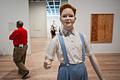 life-sized sculpture of a man at the whitney museum of american art, meatpacking district, manhattan, new york city, state of new york, united states, usa