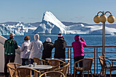 passengers aboard the astoria, discovery of the ice fjord, jakobshavn glacier, 65 kilometres long, coming from the inlandsis, sermeq kujalleq, ilulissat, greenland