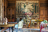 the grand salon with the gobelin tapestries from the royal houses series, chateau de bizy, vernon (27), france