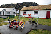 traditional thatched roof houses, glencolmcille folk village eco-museum, gleann cholm cille, county donegal, ireland
