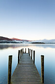 Wooden jetty at Barrow Bay landing, Derwent Water, Lake District National Park, UNESCO World Heritage Site, Cumbria, England, United Kingdom, Europe