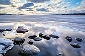 stones, Westensee, ice, Schleswig Holstein, Germany