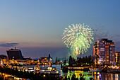fireworks, sailingship, sailingships, Skyline, Hörn, Kiel Week, Baltic Sea, Kiel, Kiel fjord, Schleswig Holstein, Germany