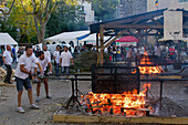 France, Southern France, Saint-Pons-de-Thomieres, Chestnut Festival, roasting of chestnuts