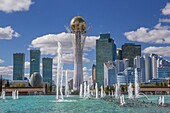Kazakhstan, Astana City, New Administrative City, Nurzhol Avenue, Bayterek Monument, Singing Fountains Square