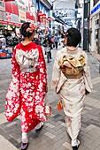 Japan, Honshu, Tokyo, Asakusa, Girls in Kimono