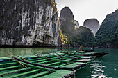 Vietnam, Ha Long Bay, small stroll boats lining up (UNESCO World Heritage)