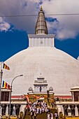 Ruwanwelisaya Dagoba (Stupa) in the ancient city of Anuradhapura, Sri Lanka, Also known as the Ruwanweli Maha Seya, or Great Stupa is a sacred place of pilgrimage and worship in the ancient city of Anuradhapura