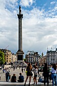 Nelson's Column and Trafalgar Square, London, UK