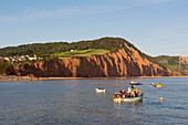 Sandstone cliffs of the Jurassic Coast at Sidmouth, Devon, England, United Kingdom, Europe