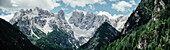 Panoramic view of rocky mountains against sky, South Tyrol, Italy