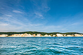 View towards chalk cliffs, Stubbenkammer, Jasmund National Park, Ruegen Island, Mecklenburg-Western Pomerania, Germany