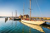 Sailing boats in the marina, Gager, Moenchgut, Ruegen Island, Mecklenburg-Western Pomerania, Germany