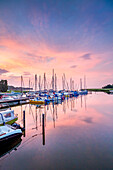 Sundown at marina, Jasmunder Bodden, Ralswiek, Rügen Island, Mecklenburg-Western Pomerania, Germany