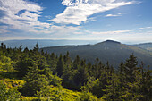 View from Grosser Arber to Kleiner Arber with Chamer Huette, Bavarian Forest, Bavaria, Germany