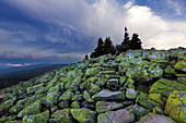 Thunderclouds above the granite block-fall at the Lusen summit, Bavarian Forest, Bavaria, Germany