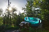 Skulptur Glasarche am Wanderweg zum Lusen, Bayrischer Wald, Bayern, Deutschland